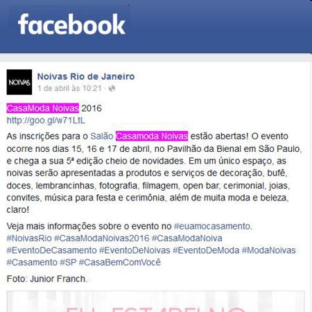 Facebook Noivas Rio