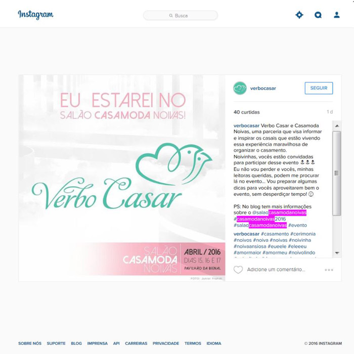 Instagram Verbo Casar